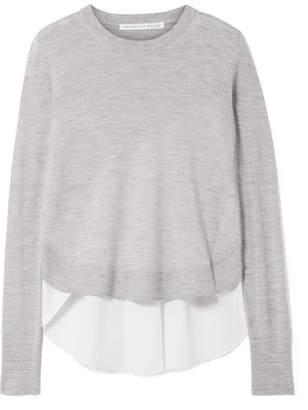 Veronica Beard Alma Asymmetric Merino Wool And Poplin Sweater - Gray