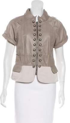 BCBGMAXAZRIA Leather Zip-Up Jacket