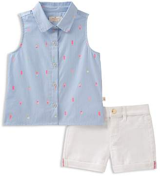 Kate Spade Girls' Striped Ice Pop Print Shirt & Cuffed Shorts Set - Little Kid