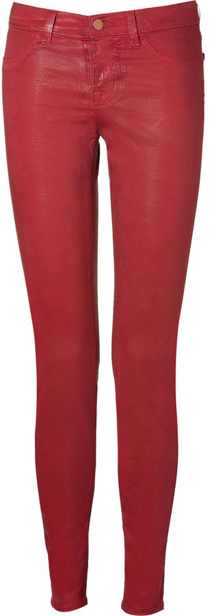 J Brand Red Coated Super Skinny Pants
