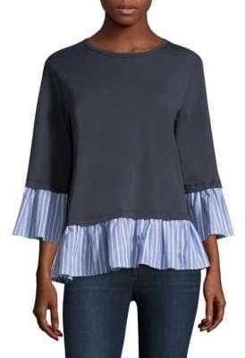 Clu Stripe Ruffle Hem Sweater