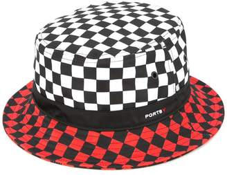 Ports V colour block checkered print hat