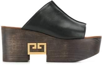 Givenchy logo platform mules