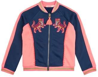 Billieblush Tiger Embroidered Zip Sweatshirt