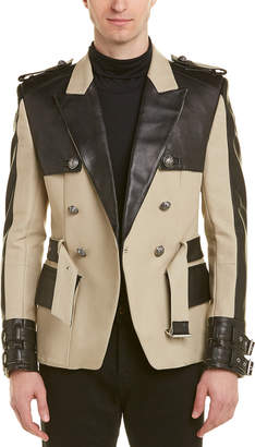 Balmain Canvas & Leather Short Trench Coat