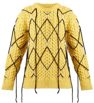Calvin Klein Cable Knit Wool And Mohair Blend Sweater - Womens - Yellow