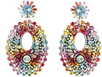 Dannijo Silver Plated Crystal Drop Earrings