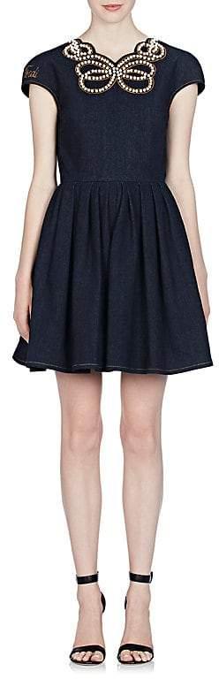 Fendi Women's Pearl Bow Denim Dress