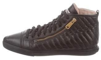 Miu Miu Quilted High-Top Sneakers