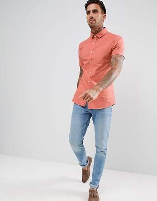 Asos DESIGN skinny oxford shirt in coral with short sleeves