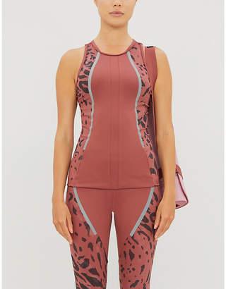 adidas by Stella McCartney Leopard-print stretch-jersey tank