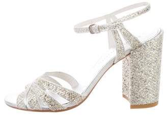 Stuart Weitzman Glitter Block Heel Sandals