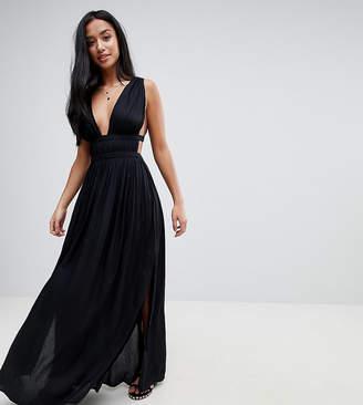 Asos DESIGN Petite grecian plunge maxi woven beach dress
