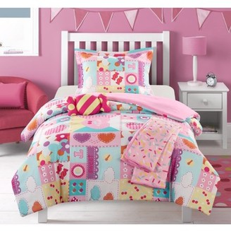 "Chic Home Henry 4 Piece Comforter Set Patchwork ""Life is Sweet"" Theme"