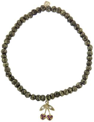 Sydney Evan Cherry On Pyrite Beaded Bracelet