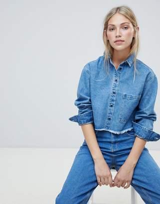 NATIVE YOUTH cropped denim shirt with frayed hem