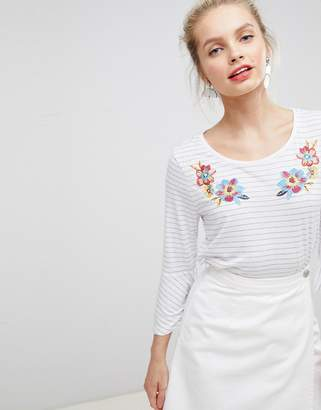 Nocozo Top in Yarn Dye Stripe with Floral Embroidery