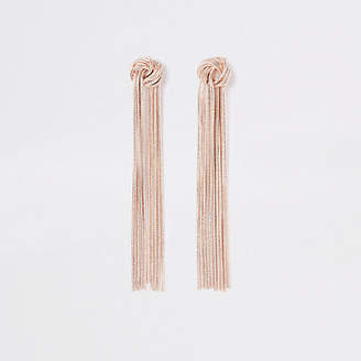 River Island Rose gold color slinky knot drop earrings