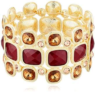 "T Tahari Roman Holiday"" Bright Brown Stretch Bracelet"