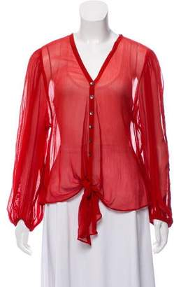 Love Sam Silk Long Sleeve Blouse w/ Tags