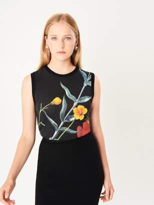 Oscar de la Renta Flower Motif Knit Tank