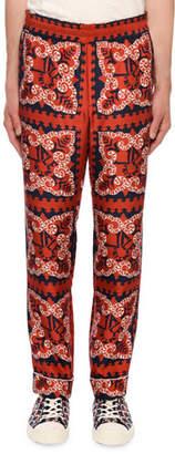 Valentino Men's Logo Bandana-Print Silk Pants