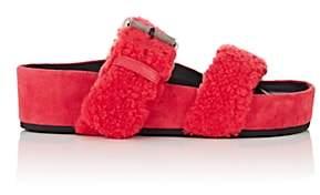 Rag & Bone Women's Evin Shearling Platform Slide Sandals-Md. Red