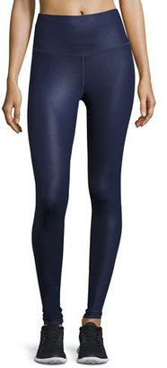 Alo Yoga Airbrush High-Waist Sport Leggings, Rich Navy Glossy $82 thestylecure.com