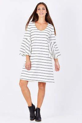 NEW Imonni Womens Short Dresses Haim Dress IvoryStrip
