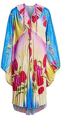 Vetements Women's Happiness Wing Pleated Floral Dress