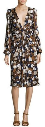 Michael Kors Collection Floral Knotted Deep-V Dress, Brown/Multi $1,995 thestylecure.com