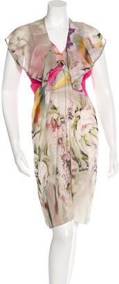 Vera Wang Silk-Blend Floral Print Dress w/ Tags $175 thestylecure.com