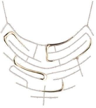 Alexis Bittar Crystal Encrusted Two Tone Maze Bib Necklace