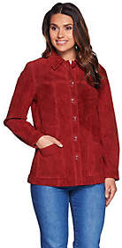 Denim & Co. Button Front Washable Suede Jacketwith Pockets