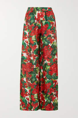 Dolce & Gabbana Floral-print Silk-twill Wide-leg Pants - Red