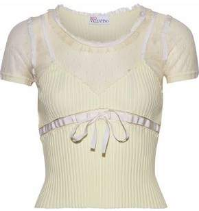 RED Valentino Point D'esprit-Paneled Bow-Detailed Ribbed-Knit Top