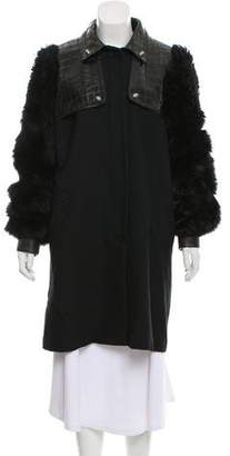 Alexander Wang Wool Fur-Trim Coat