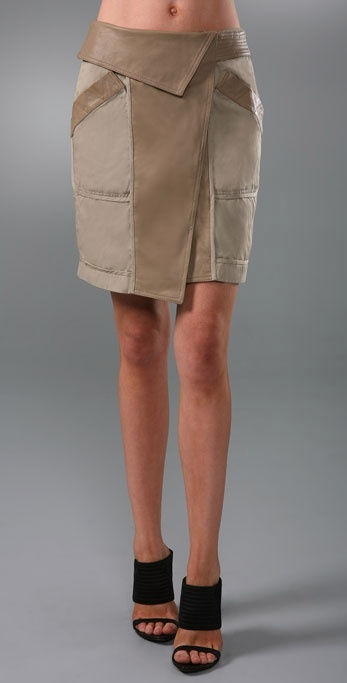 Alexander Wang Asymmetrical Khaki Skirt with Leather Detail