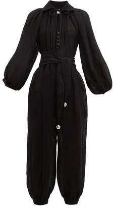 Lisa Marie Fernandez Poet Linen Blend Gauze Jumpsuit - Womens - Black