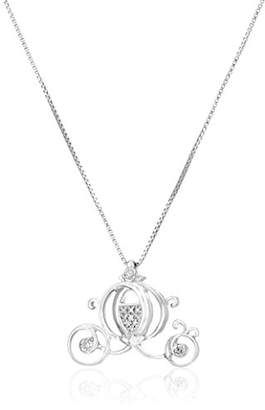 Disney Sterling Diamond Cinderella Carriage Pendant Necklace