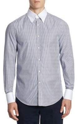 Brunello Cucinelli Contrast Collar Striped Button-Down Shirt