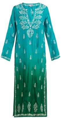 Juliet Dunn Sequin Embellished Embroidered Silk Kaftan - Womens - Green Multi