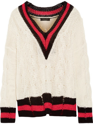 rag & bone - Emma Oversized Striped Cable-knit Cotton-blend Sweater - Cream $450 thestylecure.com
