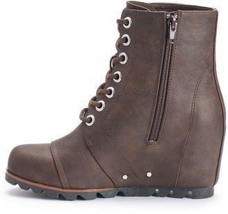 unionbay sassy s wedge combat boots shopstyle