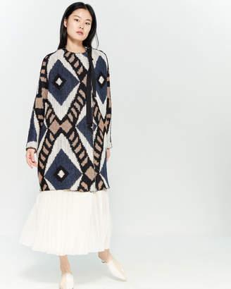 Alysi Geometric Pattern Wool-Blend Coat