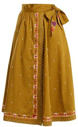 Temperley London - Divine Border Embroidered Cotton Wrap Skirt - Womens - Tan