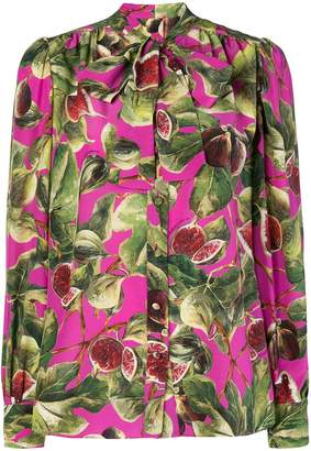 Dolce & Gabbana fig print pussy bow shirt