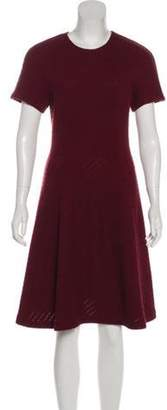 Lela Rose Perforated Wool-Blend Dress Rose Perforated Wool-Blend Dress