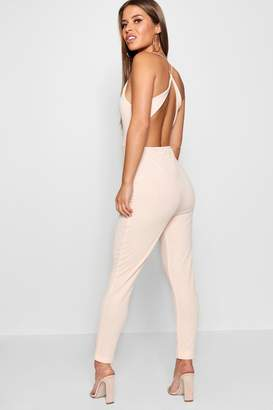 boohoo Petite High Neck Cross Back Detail Jumpsuit