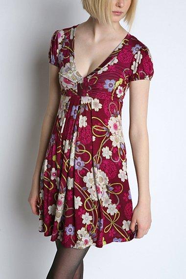 Kimchi Blue Knit Print V Neck Dress